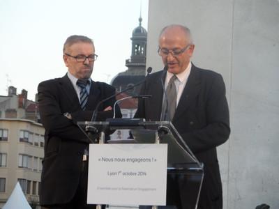 L'imam A.Gaci et le père V. Feroldi à Lyon