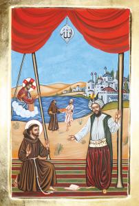 Icône de la rencontre entre saint François et le Sultan d'Egypte écrite à Bethléem en octobre 2019 par l'artiste palestinien chrétien Anton Aoun.